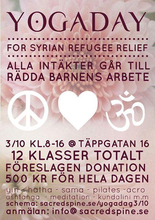 yogadag för flykting-hjälp!